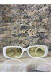 Unisex Beyaz Sarı Kare Dikdörtgen Vintage Retro Güneş Gözlüğü