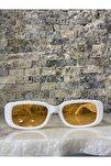 Unisex Beyaz Turuncu Kare Dikdörtgen Vintage Retro Güneş Gözlüğü