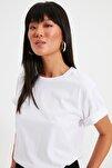 Beyaz %100 Pamuk Bisiklet Yaka Boyfriend Örme T-Shirt TWOSS20TS0134