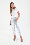 Beyaz %100 Pamuk Bisiklet Yaka Basic Örme T-Shirt TWOSS20TS0133