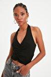 Siyah Fırfır Detaylı Fitilli Örme Bluz TWOSS21BZ0691