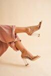 Nude Cilt Şeffaf Kadın Şeffaf Topuklu Ayakkabı