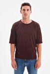 Kahverengi Basic Erkek Bisiklet Yaka Oversize Kısa Kollu T-Shirt TMNSS21TS0811