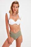 Haki Cut-Out Detaylı Yüksek Bel Bikini Altı TBESS20BA0184