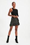 Siyah Çiçek Desenli Volanlı Örme Etek TWOSS21ET0010