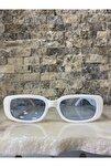 Unisex Beyaz Mavi Kare Dikdörtgen Vintage Retro Güneş Gözlüğü