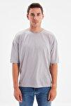 Gri Basic Erkek Bisiklet Yaka Oversize Kısa Kollu T-Shirt TMNSS21TS0811