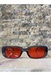 Unisex Füme Kırmızı Kare Dikdörtgen Vintage Retro Güneş Gözlüğü