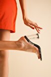 Siyah Cilt Şeffaf Kadın Şeffaf Topuklu Ayakkabı