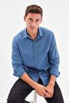 Indigo Erkek Düğmeli Yaka Apoletli Slim Fit Gömlek TMNSS20GO0189