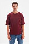 Bordo Basic Erkek Bisiklet Yaka Oversize Kısa Kollu T-Shirt TMNSS21TS0811