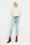 Açık Mavi Paçası Kesikli Yüksek Bel Slim Fit Jeans TWOSS21JE0014