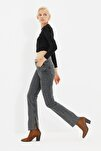 Antrasit Yırtmaçlı Yüksek Bel Slim Flare Jeans TWOAW22JE0382