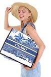 Kadın Tasarım Mavi Plaj Çantası Alışveriş Çantası