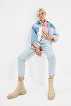 Buz Mavi Asit Yıkamalı Yüksek Bel Mom Jeans TWOSS20JE0164