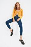 Lacivert Önden Düğmeli Jegging Jeans TWOAW21JE0446