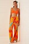 Kadın Tropik Oranj Yüksek Bel Yazlık Bol Viskon Pantolon BH00354