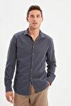 Antrasit Erkek Düğmeli Yaka Apoletli Slim Fit Gömlek TMNSS20GO0189