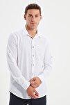 Beyaz Erkek Düğmeli Yaka Apoletli Slim Fit Gömlek TMNSS20GO0189