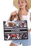 Kadın Özel Tasarım Siyah Desenli Plaj Çantası - Alışveriş Çantası