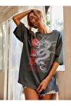 Kadın Antrasit Warrior Oversize T-shirt