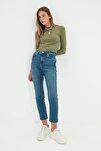 Mavi Paçası Kesikli Yüksek Bel Slim Fit Jeans TWOSS21JE0014