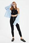 Siyah Önden Düğmeli Yüksek Bel Jegging Jeans TWOAW21JE0446