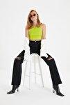 Siyah Yırtık Detaylı Yüksek Bel Wide Leg Jeans TWOAW21JE0539