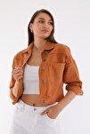 Kadın Tarçın Crop Denim Ceket