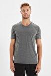 Antrasit Erkek Basic Slim Fit V Yaka Kısa Kollu T-Shirt TMNSS19BO0002