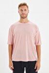 Pembe Basic Erkek Bisiklet Yaka Oversize Kısa Kollu T-Shirt TMNSS21TS0811