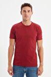 Bordo Basıc Erkek Slim Fit Pamuklu Kısa Kollu Bisiklet Yaka T-Shirt TMNSS19BO0001