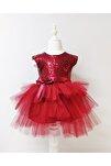 Kız Çocuk Bordo Tüllü Pul Payetli Parti Elbisesi