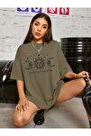Kadın Haki Oversize Celestial Sun Moon Baskılı T-shirt