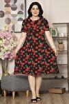 Kadın Kırmızı Büyük Beden Desenli Günlük Likralı Viskon Elbise