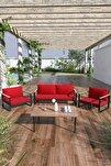 Kobalt Bahçe Balkon Oturma Takımı Sehpalı 2+1+1 Kırmızı