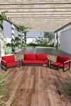 Kobalt Bahçe Balkon Oturma Takımı 2+1+1 Kırmızı