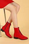 007-01 Süet Bağcıklı Termo Taban Bayan Bot Ayakkabı