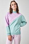Mint Renk Bloklu Baskılı Örme Sweatshirt TWOAW21SW0775