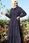 Kadın Lacivert Yaka Bağcıklı Tesettür Elbise