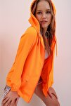 Kadın Turuncu Kapüşonlu Su Geçirmez Ceket ALC-X6986