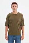 Haki Basic Erkek Bisiklet Yaka Oversize Kısa Kollu T-Shirt TMNSS21TS0811