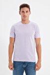 Lila Basıc Erkek Slim Fit Pamuklu Kısa Kollu Bisiklet Yaka T-Shirt TMNSS19BO0001