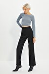 Siyah Yüksek Bel Nervür Dikişli Pantolon TWOSS21PL0093