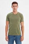 Haki Erkek Basic Slim Fit V Yaka Kısa Kollu T-Shirt TMNSS19BO0002