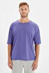 Koyu Mor Basic Erkek Bisiklet Yaka Oversize Kısa Kollu T-Shirt TMNSS21TS0811