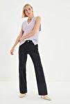 Siyah Yırtık Detaylı Yüksek Bel Wide Leg Jeans TWOSS21JE0441