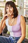 Kadın Giyim Lila Beyaz Renk Bloklu Kalın Askılı Triko Crop