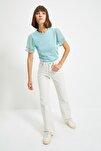 Mint Kolları Tül ve Volan Detaylı Örme Bluz TWOSS20BZ0720