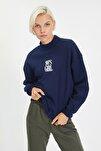 Lacivert Nakışlı Dik Yaka Basic Örme Sweatshirt TWOAW21SW0019